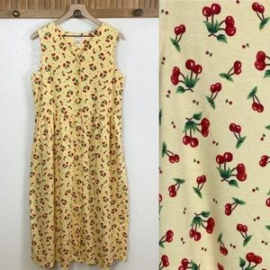 Vintages 90s Yellow Cherry Button Front Maxi Dress